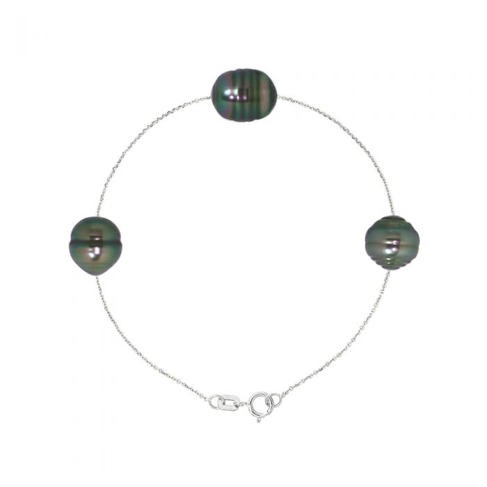 Image for DIADEMA - Bracelet - 3 Real Tahitian Pearls - Cable Chain Diamonds