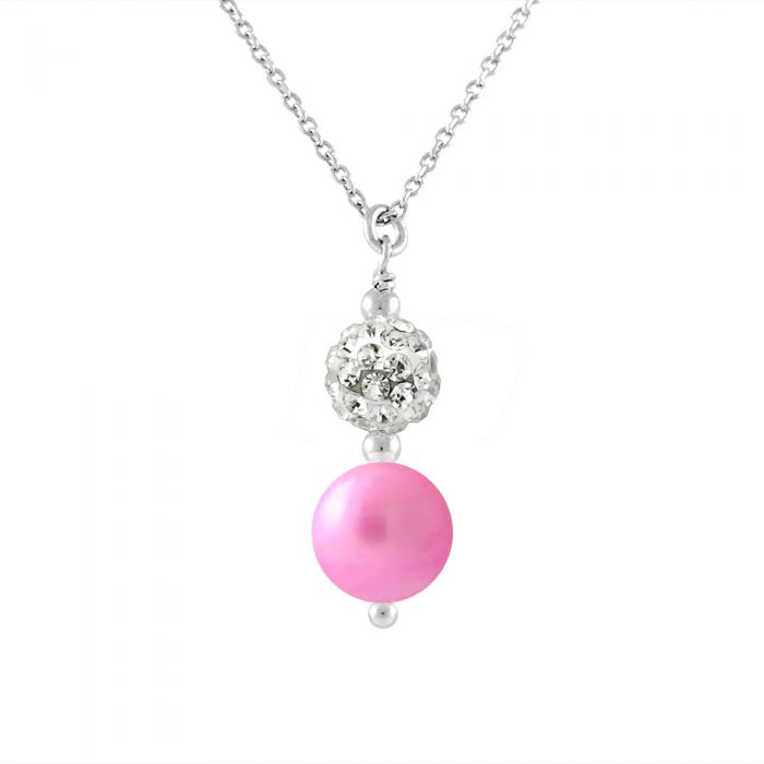 Image for White crystal and pearl necklace