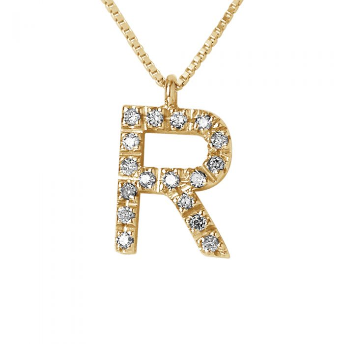 Image for Yellow gold initial diamond necklace