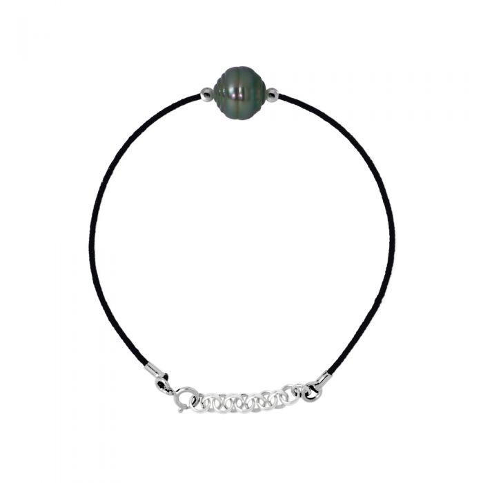 Image for DIADEMA - Bracelet Love Bond - Black Nylon - Tahitian Pearl - Rainbow