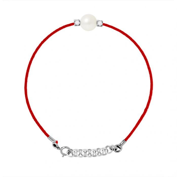 Image for White freshwater pearl diamond bracelet