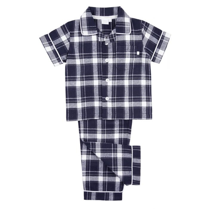 Image for Navy Check fabric Boys short sleeved Traditional Pyjamas