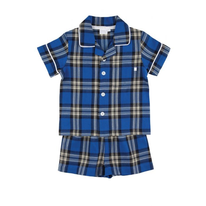 Image for Boys Blue Short Traditional Check Pyjamas