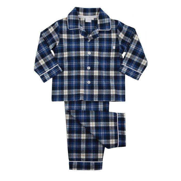 Image for Boys Traditional Blue Check Pyjamas