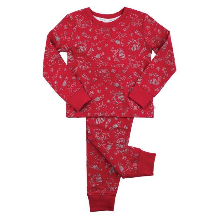 Image for Girls Glitter Pet Print Pyjamas