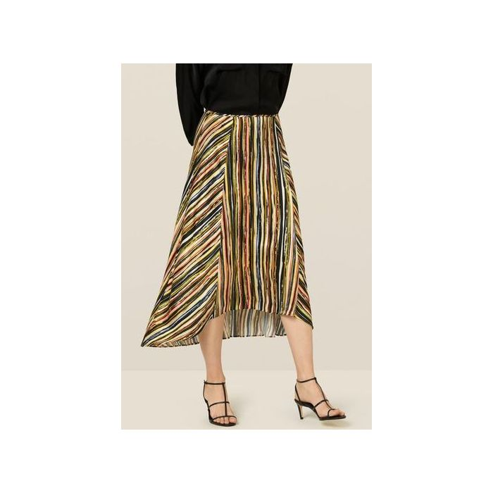 Image for Mika Striped Dipped Hem Skirt - Multi