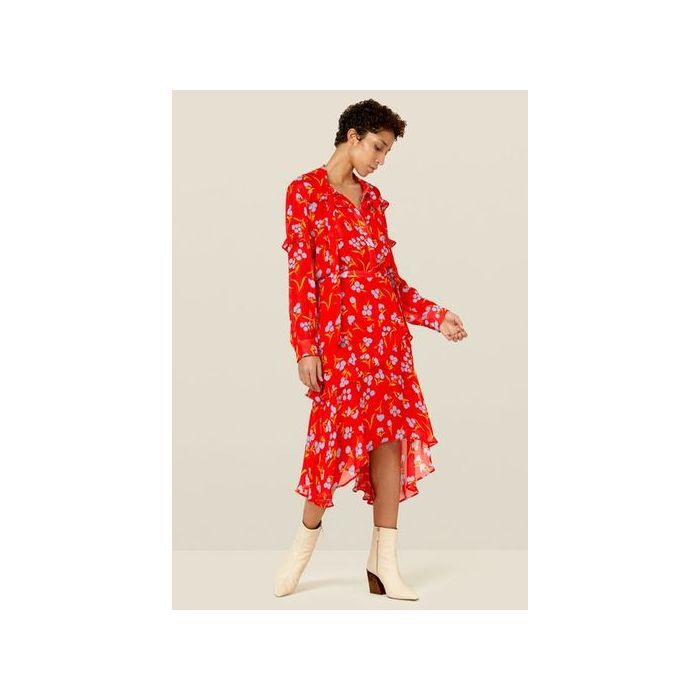 Image for Molly Red Floral Asymmetric Skirt - Red