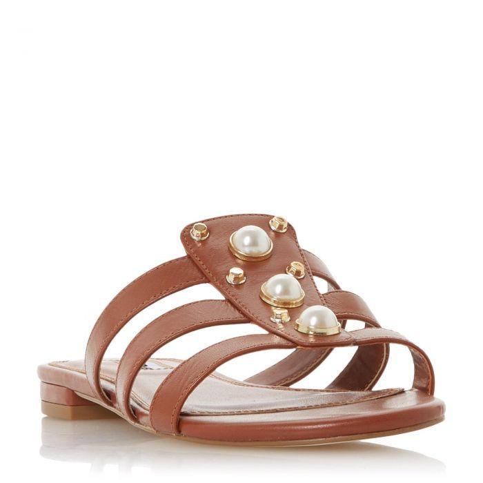 Image for Dune Ladies NIKOLE Embellished Pearl and Stud Flat Sandal