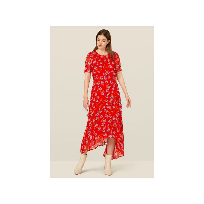 Image for Nicole Red Floral Frill Detail Dress - Red