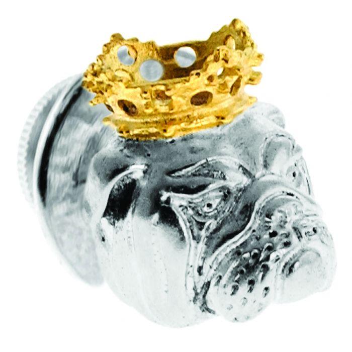 Image for Rhodium  Plain  Sil Color King Bull Dog Short Lapel Pin