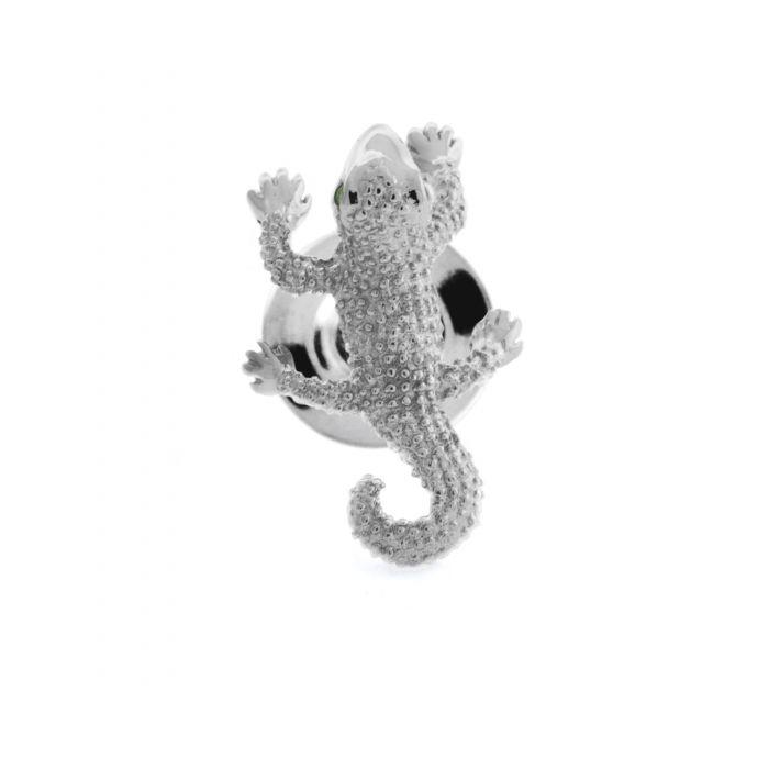 Image for Rhodium  Swarovski  Green  Organic  Gecko