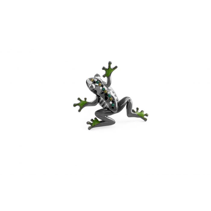 Image for Gun Metal Plated  Enamel  Greens  Swarovskiski  Moving arms and legs  FROG  Mechanical animals
