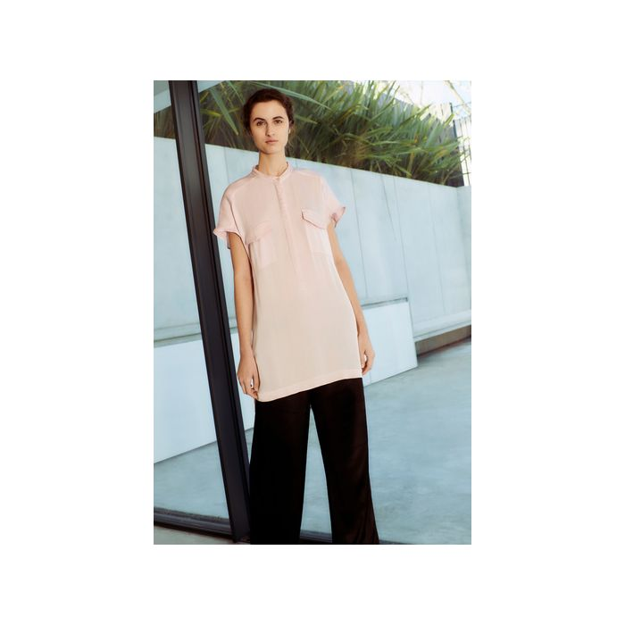 Image for Renee Pink Satin Tunic Top - Pink