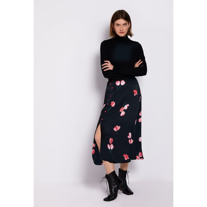 Image for Louisa Black Floral Print Satin Skirt