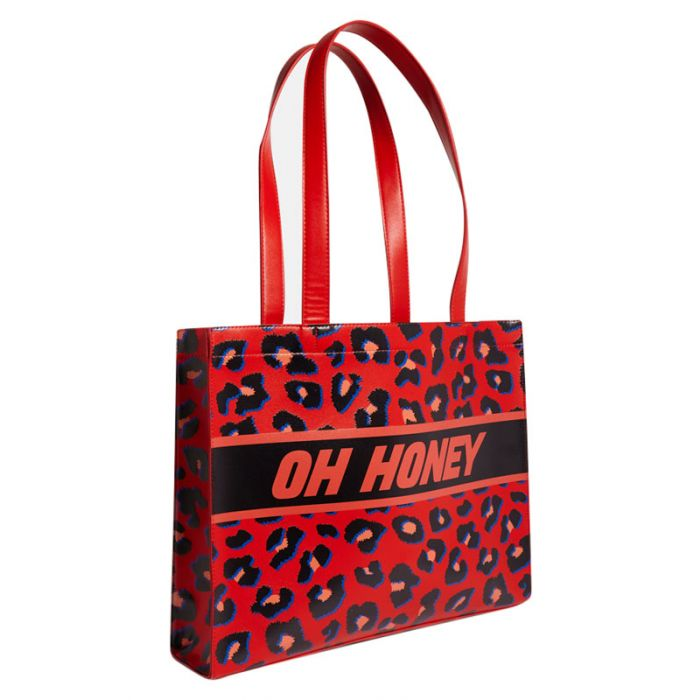Image for Oh Honey red patterned tote