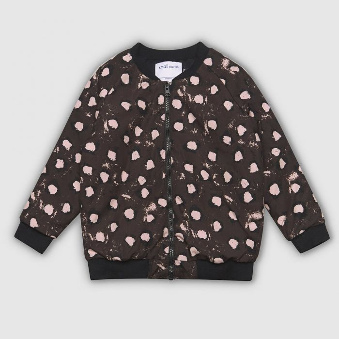 Image for Brown painted dot zip bomber