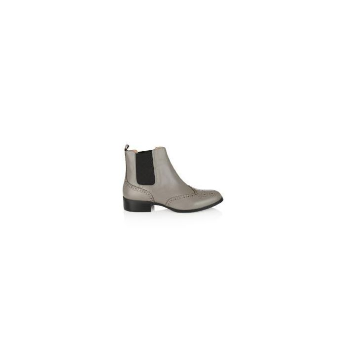 Image for Grey leather brogue Chelsea boots