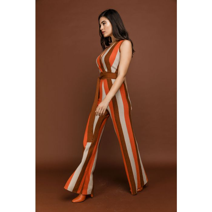 Image for Orange Striped Lurex Jumpsuit
