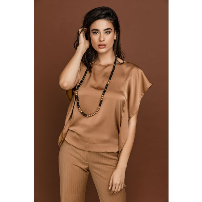 Image for Camel Cap Sleeve Top by Si Fashion