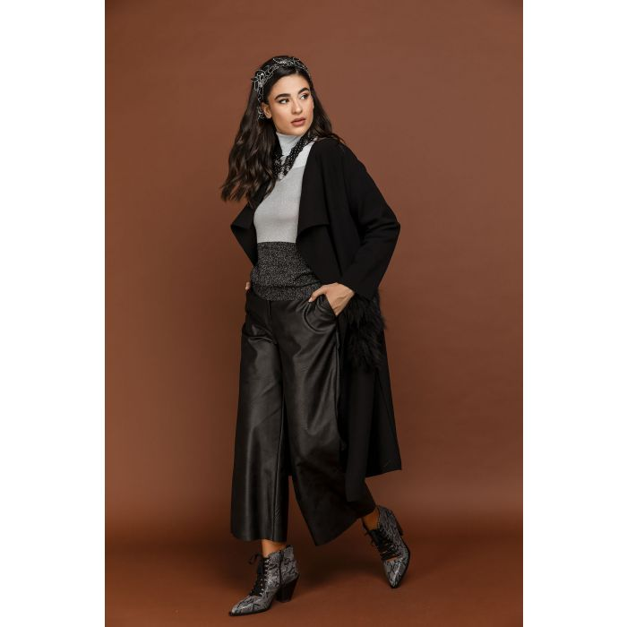 Image for Black faux leather culottes
