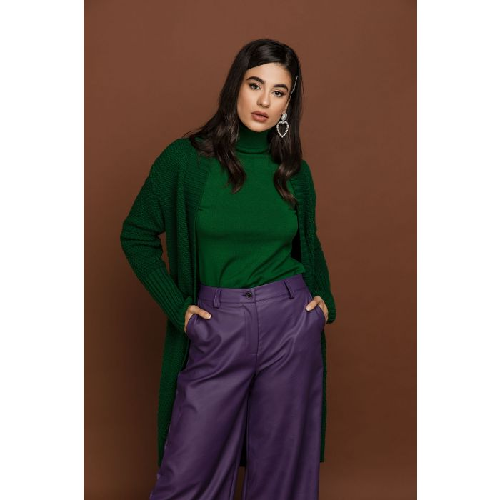 Image for Purple faux leather culottes