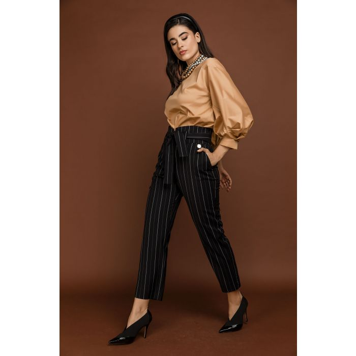 Image for Black Striped High Waist Pants by Si Fashion