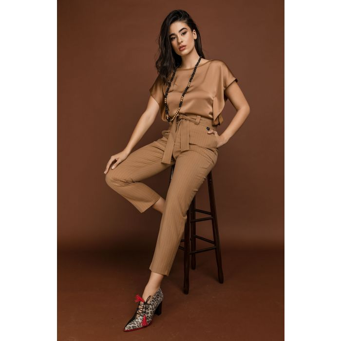 Image for Camel Striped High Waist Pants by Si Fashion