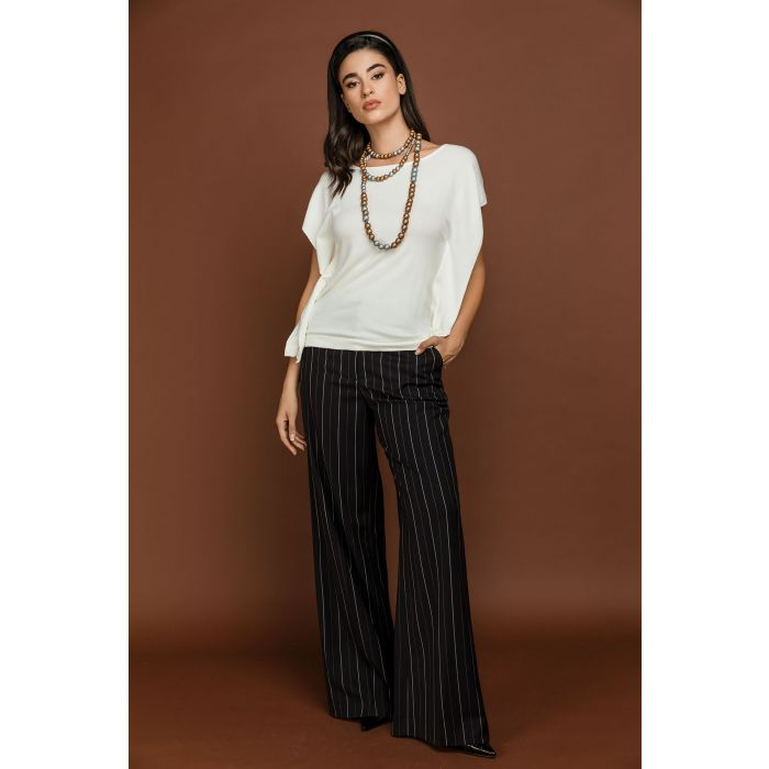 Image for Black Striped Straight Leg Pants by Si Fashion