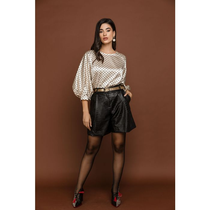 Image for Black Faux Crocodile Bermuda Shorts by Si Fashion