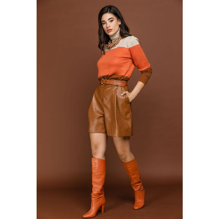 Image for Brown Faux Crocodile Bermuda Shorts by Si Fashion