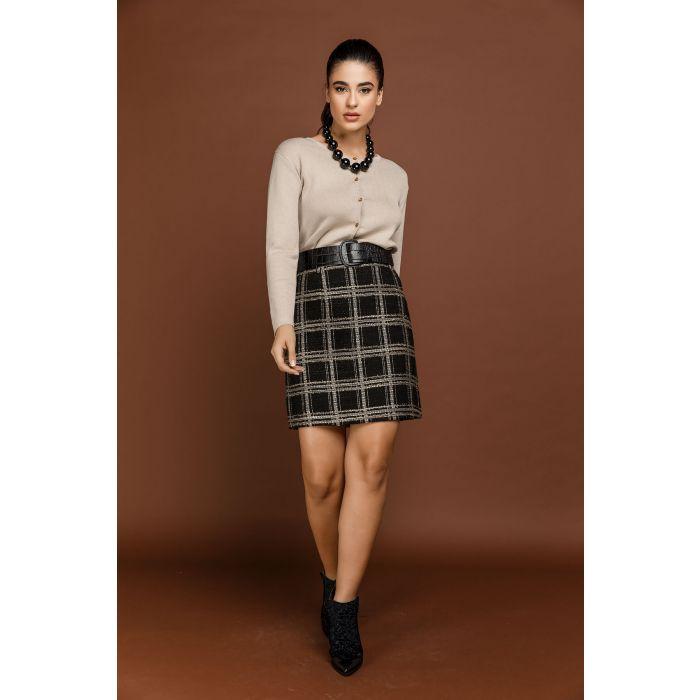 Image for Black Check Mini Skirt by Si Fashion