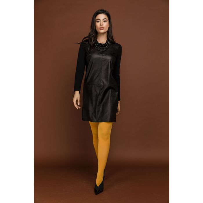 Image for Black dress with faux leather detail by si fashion