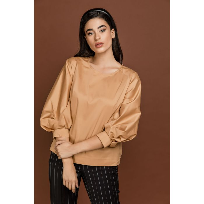 Image for Biscuit Colour Top with Puffed Sleeves by Si Fashion