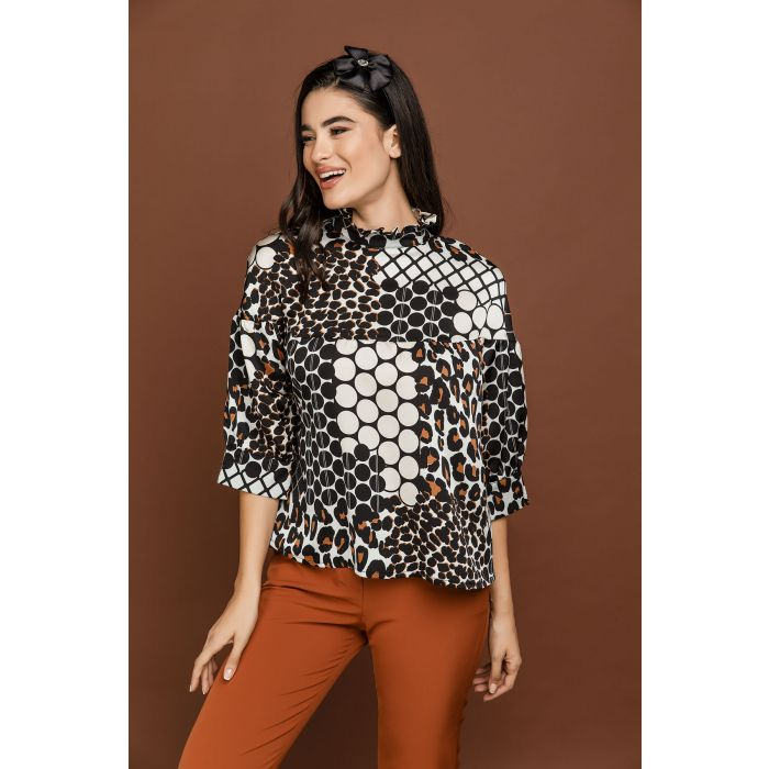 Image for Animal Print Top with Ruffle Neck by Si Fashion