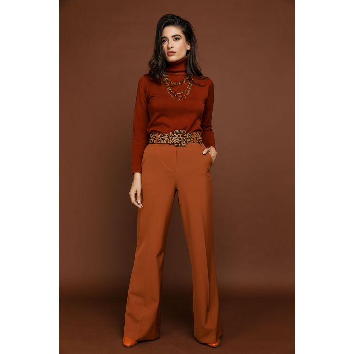 Image for Orange Straight Leg Pants by Si Fashion