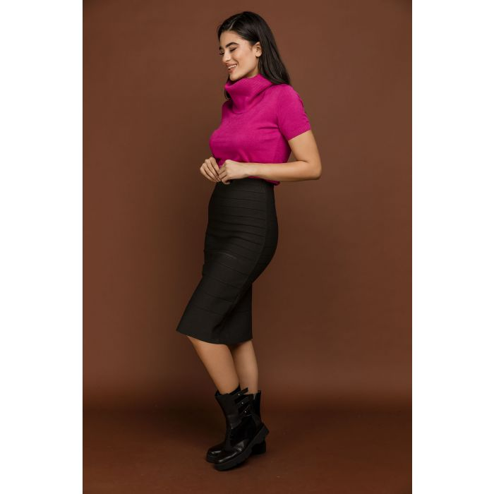 Image for Fitted Dark Grey Stretch Skirt by Si Fashion