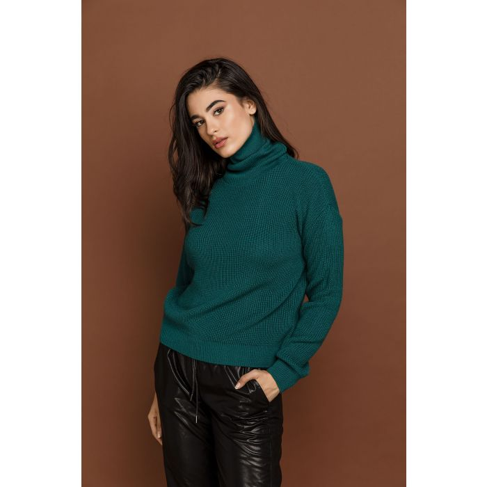 Image for Petrol Blue Turtleneck Pullover by Si Fashion