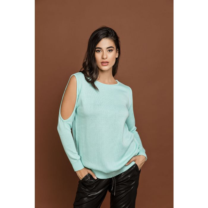 Image for Mint Green Cold Shoulder Top by Si Fashion