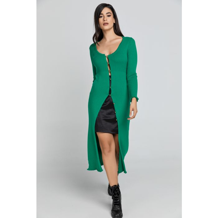 Image for Long Green Knit Cardigan