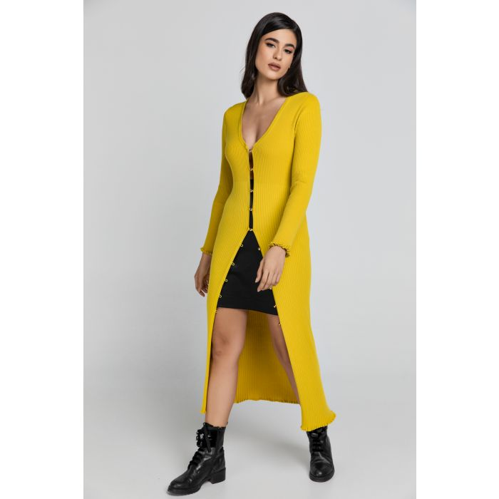 Image for Long Dark Yellow Knit Cardigan