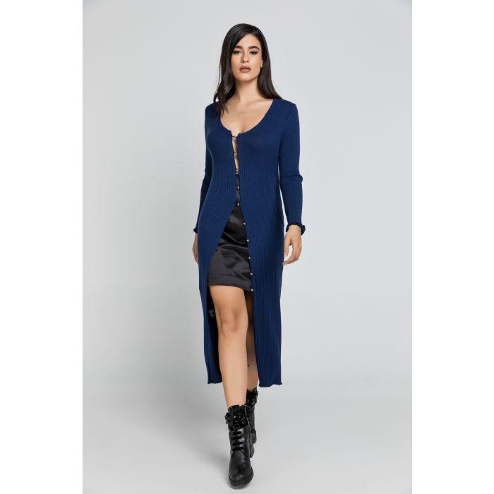 Image for Long Dark Blue Knit Cardigan