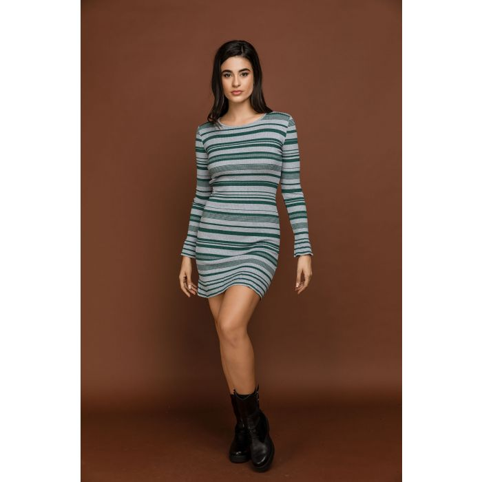 Image for Striped Knit Green Dress by Si Fashion