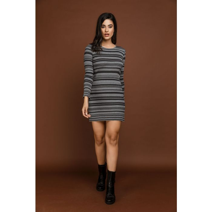 Image for Striped Knit Dark Grey Dress by Si Fashion