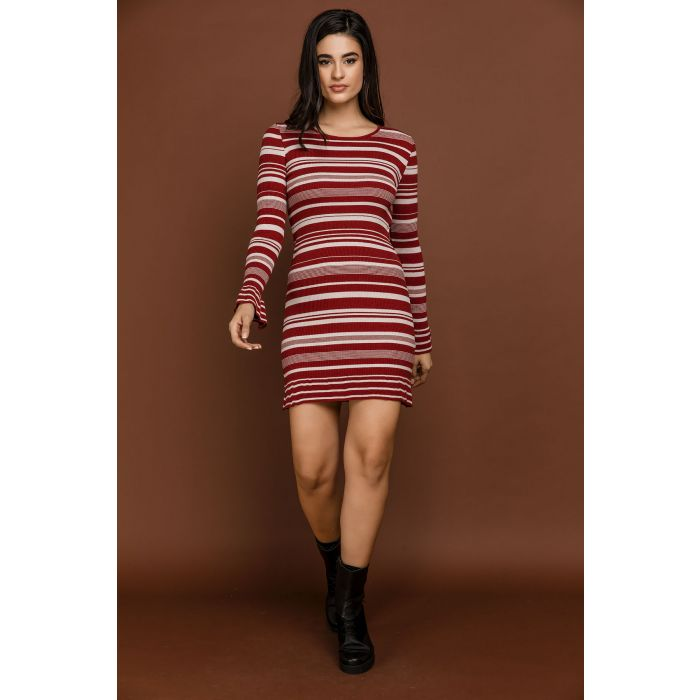 Image for Striped Knit Burgundy Dress by Si Fashion