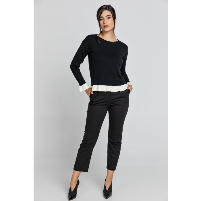 Image for Black Pullover with Ecru Ruffle Detail