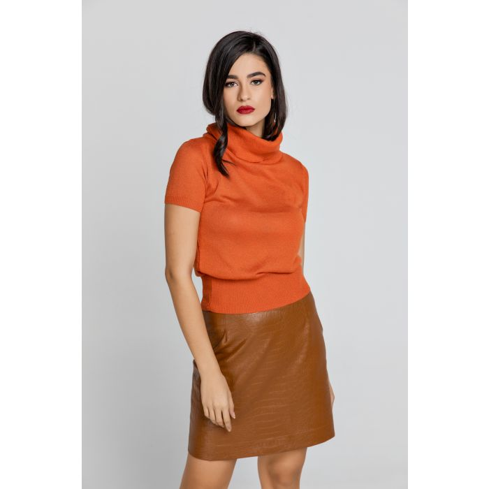 Image for Orange Short Sleeve Lurex Top