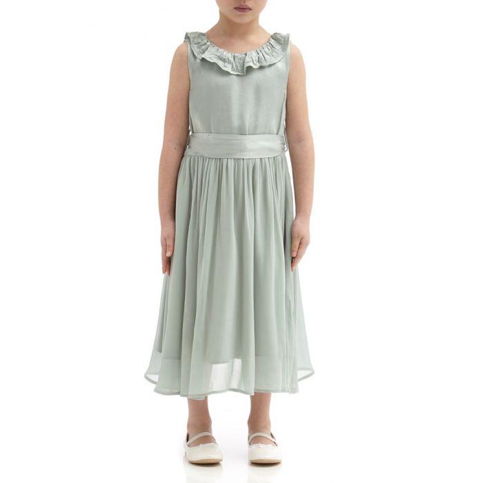 Image for Freya Dusty Green Satin Flower Girl Dress