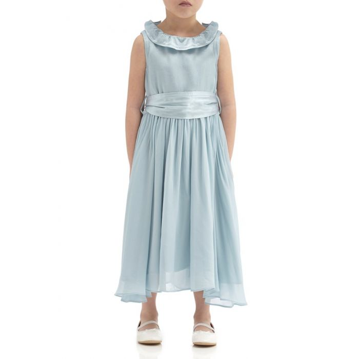 Image for Freya Sky Light Satin Flower Girl Dress