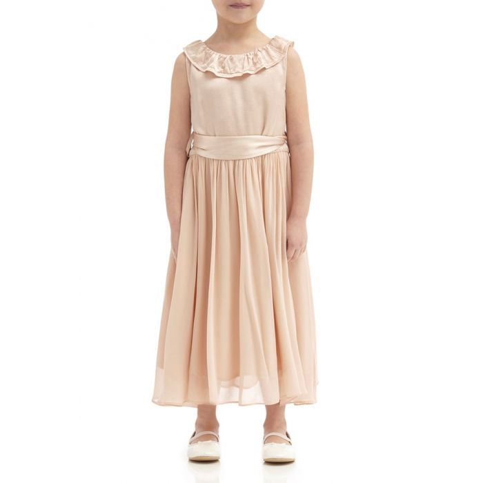 Image for Freya Oyster Satin Flower Girl Dress