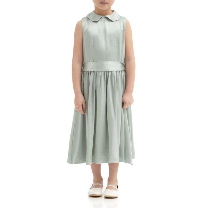 Image for Millie Dusty Green Satin Flower Girl Dress